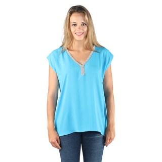Hadari Woman's Sexy High Low Blue shirt