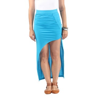 Hadari Womens Exotic Baby Blue High Waist Line Maxi Skirt wih Diagonal Streetstyle Slit