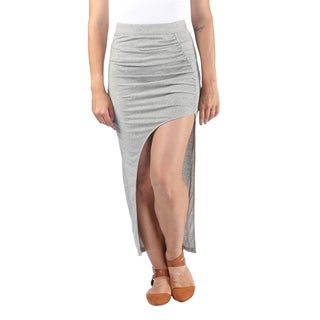 Hadari Womens Exotic Gray High Waist Line Maxi Skirt wih Diagonal Streetstyle Slit