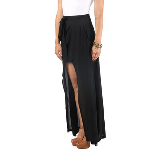 Hadari Womens Black Crepe Maxi Skirt. Triangular Slit Down Center And Wraparound Bow