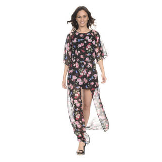 Romeo + Juliet Couture Ditsy Floral Romper with Long Chiffon Overlay
