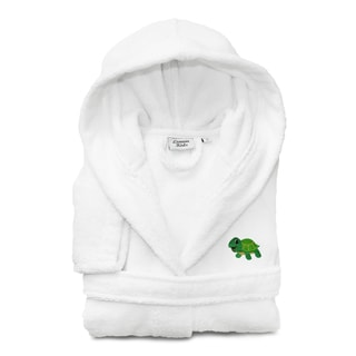 Sweet Kids Set of 3 White Turkish Cotton Hooded Terry Bathrobe with Embroidered Green Turtle and 2 Hand Towels