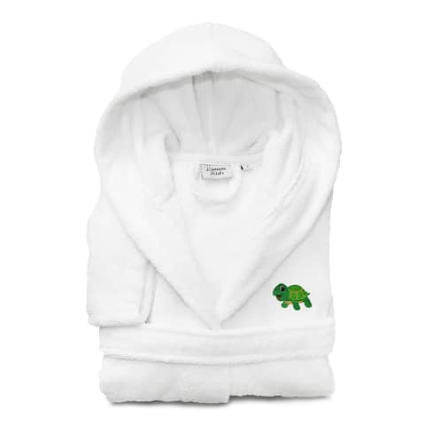 Sweet Kids White Turkish Cotton Hooded Bathrobe with Embroidered Green Turtle