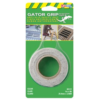 "Incom RE177 1"" X 8' Clear Gator Grip Anti Slip Safety Grit Tape"
