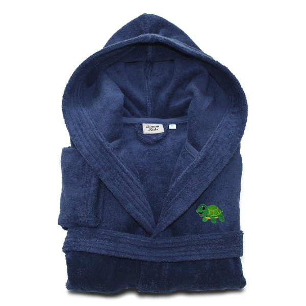 Sweet Kids Midnight Blue Turkish Cotton Hooded Terry Bathrobe with Embroidered Green Turtle