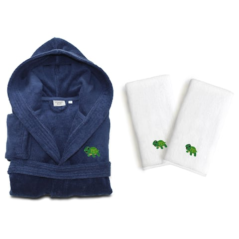 Sweet Kids Set of 3 Midnight Blue Turkish Cotton Hooded Terry Bathrobe with Embroidered Green Turtle and 2 White Hand Towels