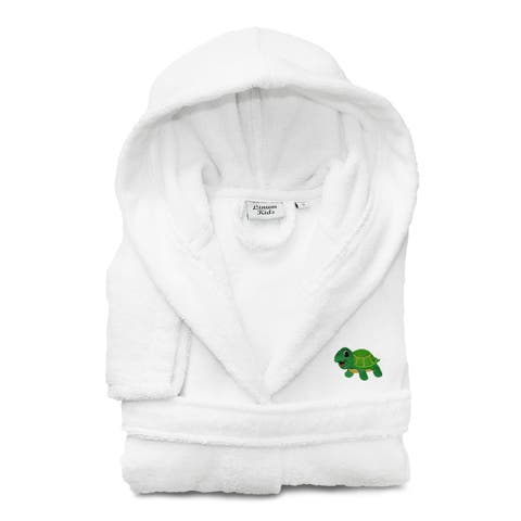 Sweet Kids Set of 2 White Turkish Cotton Hooded Bathrobe with Embroidered Green Turtle and Hand Towel