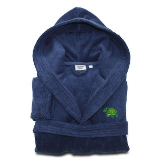 Sweet Kids Set of 2 Midnight Blue Turkish Cotton Hooded Terry Bathrobe with Embroidered Green Turtle and White Hand Towel