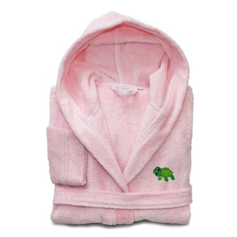 Sweet Kids Set of 2 Pink Turkish Cotton Hooded Terry Bathrobe with Embroidered Green Turtle and White Hand Towel