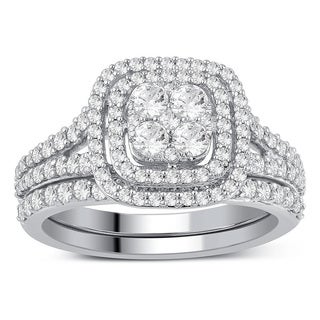 10k White Gold 1ct TDW Diamond Bridal Set Ring