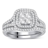Divina 10k White Gold 1ct TDW Diamond Bridal Set Ring