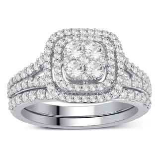 Divina 10k White Gold 1ct TDW Diamond Bridal Set Ring