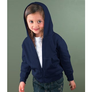 Boy's Navy 7.5 Ounce Fleece Full-zip Hooded Jacket