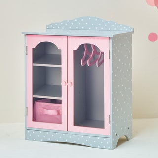 Olivia's Little World Fancy Wooden Closet 18-inch Doll Furniture with Grey Polka Dots