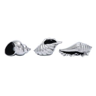 Havenside Home Buckroe 3-piece Silver Ceramic Shell Set