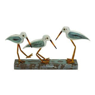 Wood, Metal 20-inch Wide x 10-inch High 3 Birds on Stand