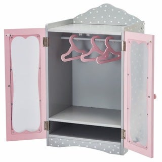 Olivia's Little World Classic Wooden Wardrobe 18-inch Doll Furniture with Grey Polka Dots
