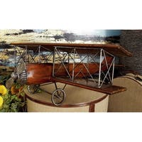 Vintage Reflections Rustic Wood and Iron Vintage-style Model Biplane