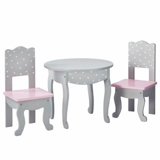 Olivia's Little World Table and Chair Set 18-inch Doll Furniture in Grey Polka Dots