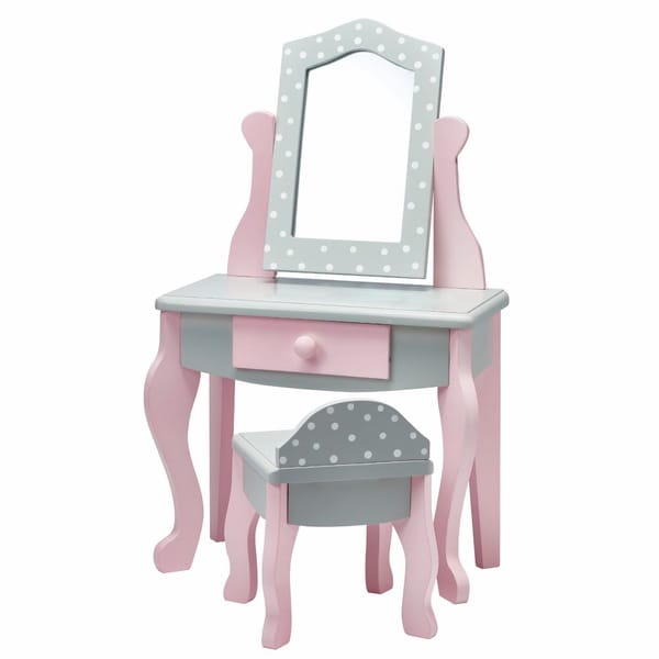 Olivia's Little World Vanity Table and Chair Set 18-inch Doll Furniture in Grey Polka Dots