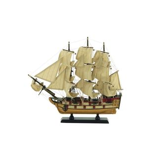 Wood 14-inch x 15-inch Sailboat Replica