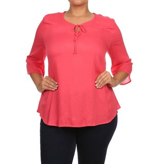 Plus Size Women's Solid Peasant Top