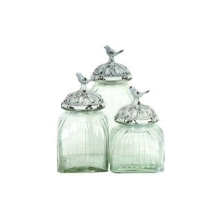 Set of 3 Painted Songbird Fluted Glass and Polystone Canisters