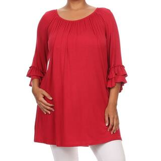 Plus Size Women's Solid Ruffled Sleeve Tunic|https://ak1.ostkcdn.com/images/products/12178331/P19028929.jpg?impolicy=medium