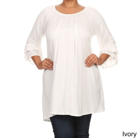 Plus Size Women's Solid Ruffled Sleeve Tunic