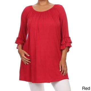 Plus Size Women's Solid Ruffled Sleeve Tunic (More options available)