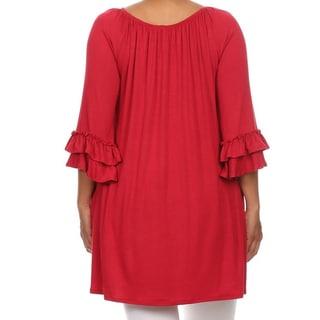 Plus Size Women's Solid Ruffled Sleeve Tunic