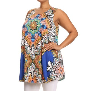 Plus Size Sleeveless Multi-Color Ornate Top