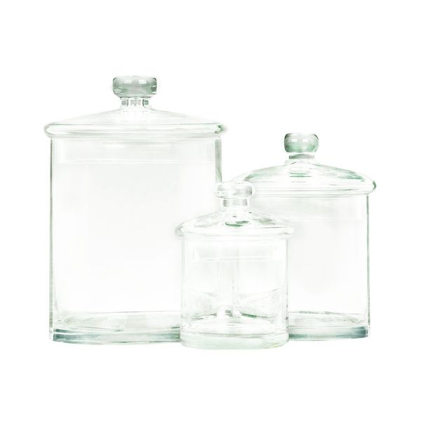 Glass Jars 5, 7, 9 Inches High (Set of 3). Opens flyout.