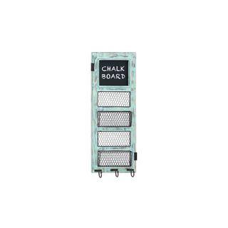 Blue/Black Pine/Iron 31-inch x 12-inch Memo Board