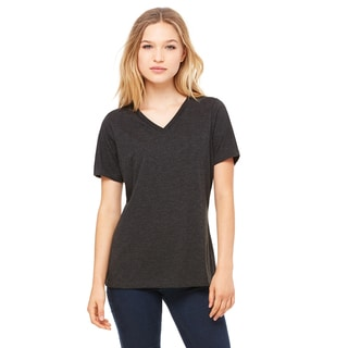 Missy's Girl's Charcoal Black Relaxed Jersey Short-sleeve V-neck T-shirt Triblend