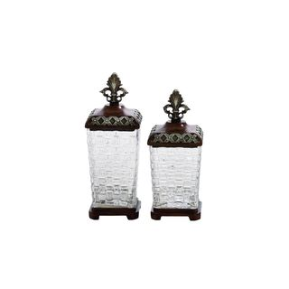 Polystone 13-inch and 12-inch High Glass Jars (Set of 2)