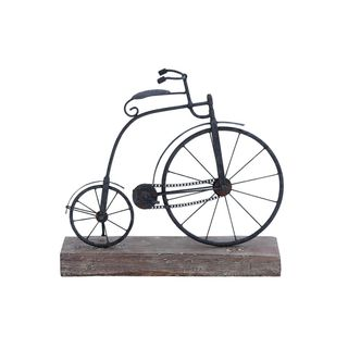 Carbon Loft Edison Black Metal and Wood Bicycle Figurine