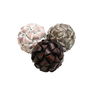 White/Tan/Brown Wood 5-inch Balls (Pack of 3)