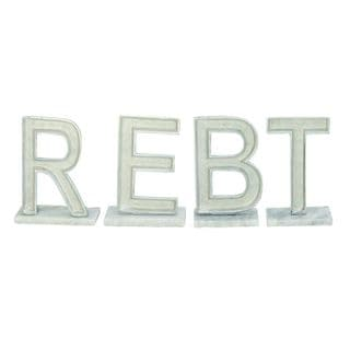 White Aluminum and Metal Decorative Letters (Set of 4)