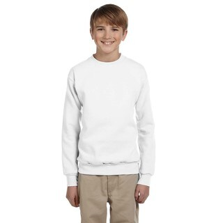 Youth Boys' Ecosmart White Comfortblend Polyester Crew-neck Sweatshirt
