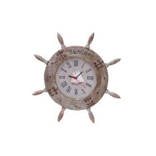 Havenside Home Buckroe 20-inch Wood Shipwheel Clock