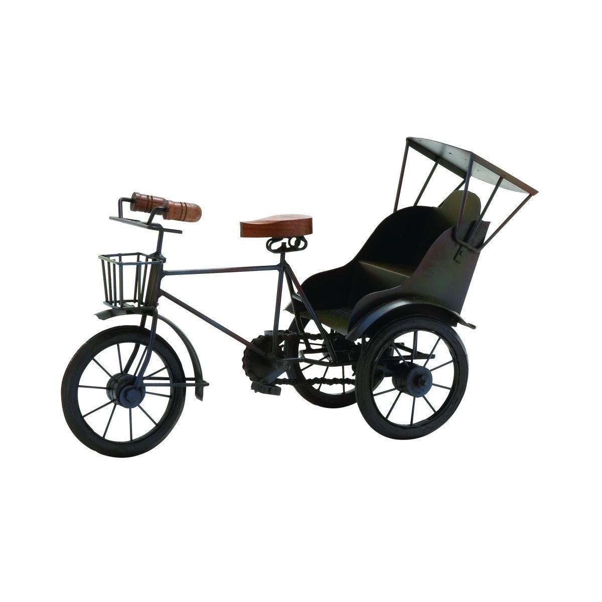 Brown Wood and Metal Tricycle Figurine