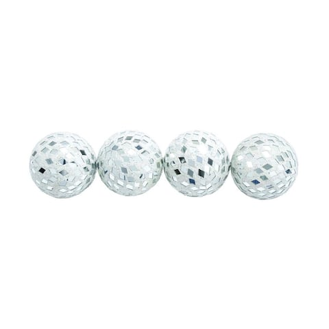 Silver Orchid Olivia Modern Reflections Mirrored Mosaic 4-inch Decorative Ball (Set of 4)