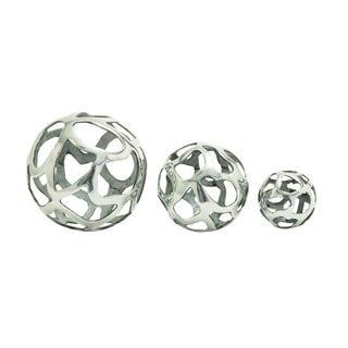 Silver Aluminum Decorative Balls (Set of 3)