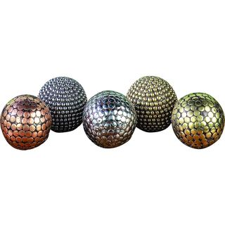 The Curated Nomad Belli Gold and Silver Brass and Plastic Decorative Balls (Set of 3)
