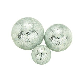 Set of 3 Traditional Silver Mosaic Deco Ball