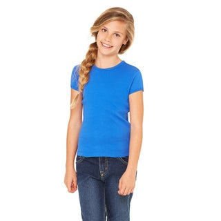 Stretch Rib Girl's True Royal Blue Cotton Short-sleeve T-shirt