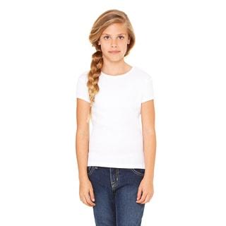 Girls' White Cotton Short-sleeved T-shirt