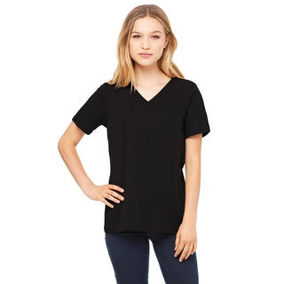 Missy's Girl's Relaxed Jersey Black Polyester/Cotton/Rayon Short-sleeve V-neck T-shirt