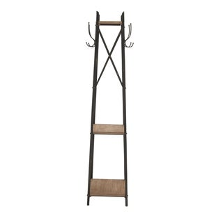 Wood and Metal 74-inch Standing Coat Rack